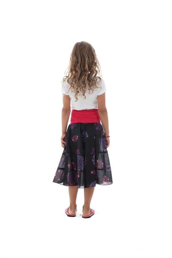 Jupe mi longue avec ceinture smockée à la taille et imprimés fantaisies Suzie 290526
