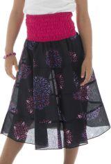 Jupe mi longue avec ceinture smockée à la taille et imprimés fantaisies Suzie 294042