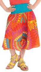 Jupe Mi-longue d'été pour Fille à 4 volants Candy Orange 279750