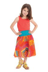 Jupe Mi-longue d'été pour Fille à 4 volants Candy Orange 279751