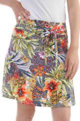 Jupe mi-longue en polyester avec imprimés exotiques Anis Alfy 297924