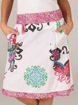 Jupe mi-longue Ethnique et très Colorée Chandana Blanche et Rose 283431