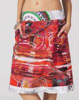 Jupe mi-longue Ethnique et très Colorée Chandana Rouge Graff 283433