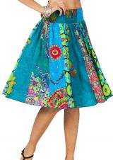 Jupe mi-longue évasée Bleue Colorée et Imprimée Tanina 286003