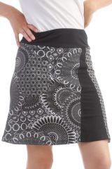 Jupe mi-longue Noir en coton imprimés fantaisies Gab 297906