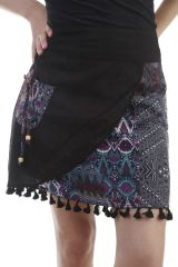 Jupe mi-longue originale en voile de coton avec patchwork noire Pivoine 296864