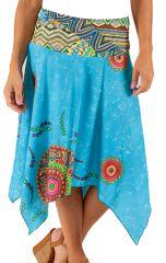 Jupe mi-longue Originale et Colorée Bleue Nial 285997