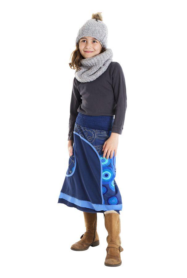 Jupe mi-longue pour enfant Bleue Fantaisie et Colorée Miranda 302190
