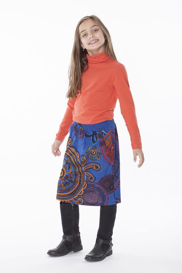 Jupe mi longue pour fillette avec imprimée Louisette 286148