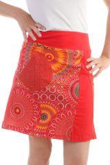 Jupe mi-longue Rouge en coton imprimés fantaisies Gab 297897