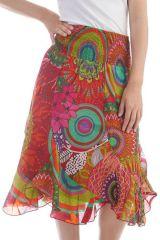 Jupe midi colorée avec imprimé fantaisie floral Rouge Marena 297942