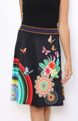 Jupe noire imprimée de rosaces et de papillons colorés Lyo 304472