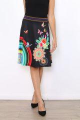 Jupe noire imprimée de rosaces et de papillons colorés Lyo 304473