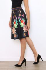 Jupe noire imprimée de rosaces et de papillons colorés Lyo 304474