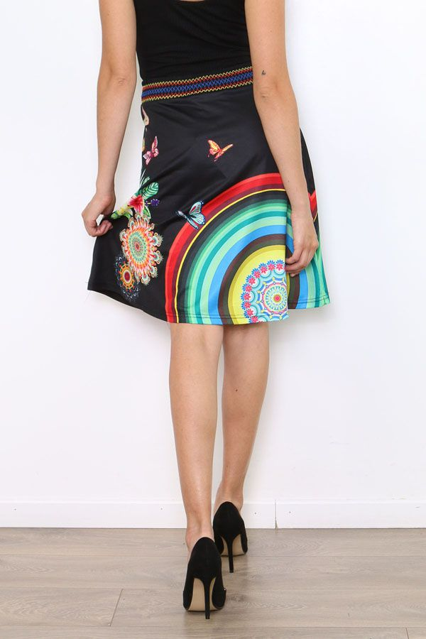 Jupe noire imprimée de rosaces et de papillons colorés Lyo 304475