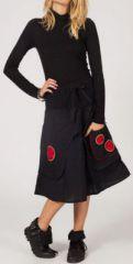 Jupe noire mi-longue ethnique pour l'hiver Magila 274245