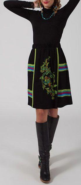 Jupe noire mi-longue originale pour l'hiver Chérifa 274191