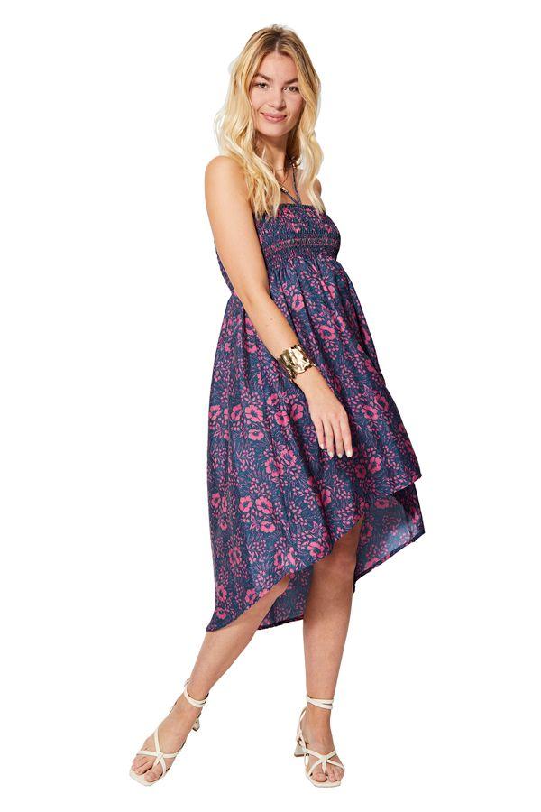 Jupe ou robe asymétrique femme même enceinte à fleurs Fusa