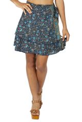 Jupe portefeuille courte effet drapée imprimé à fleurs Mila