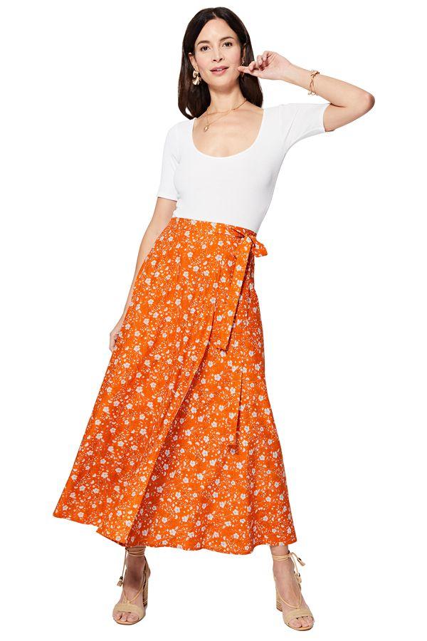 Jupe portefeuille longue femme à petites fleurs bohème Becky