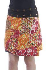 Jupe réversible  en coton style 70s avec imprimés orange Hasley 296710