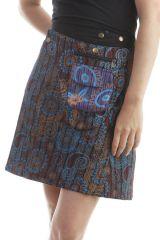 jupe réversible coupe portefeuille imprimés originaux noire kurt 296744
