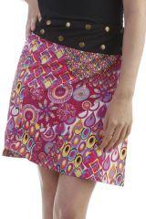 Jupe réversible en coton style 70s avec imprimés fuchsia Hasley 296704