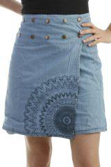 Jupe réversible en jean avec rosaces et ceinture réglable Michelle 296753
