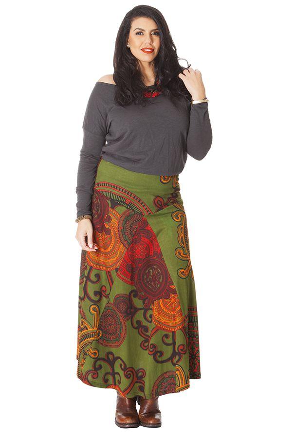 jupe verte longue grande taille ethnique imprim e paisley nadia. Black Bedroom Furniture Sets. Home Design Ideas
