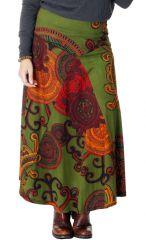 Jupe verte longue Grande taille Ethnique imprimée Paisley Nadia 286797