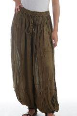 Le Pantalon large et froissé élastiqué taille et chevilles Kaki Emy 297590