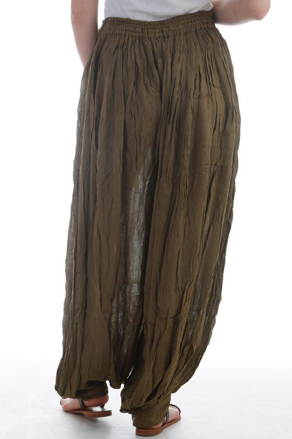 Le Pantalon large et froissé élastiqué taille et chevilles Kaki Emy 297591