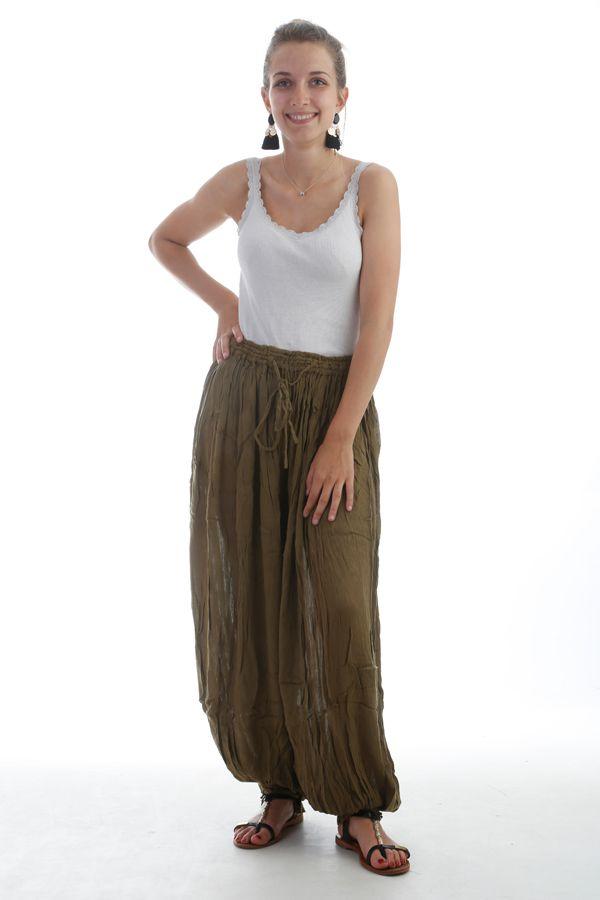 Le Pantalon large et froissé élastiqué taille et chevilles Kaki Emy 297592
