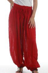 Le Pantalon large et froissé élastiqué taille et chevilles Rouge Emy 297596