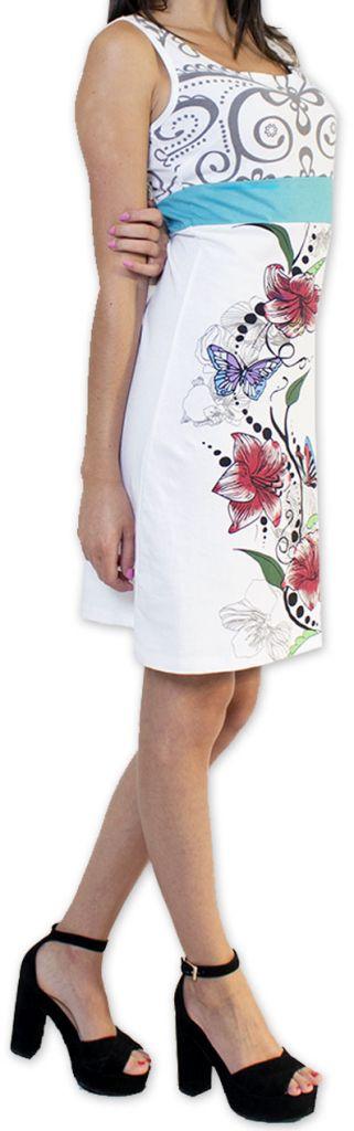 Légère et fluide robe courte et chic de soirée Blanche Annela 273250