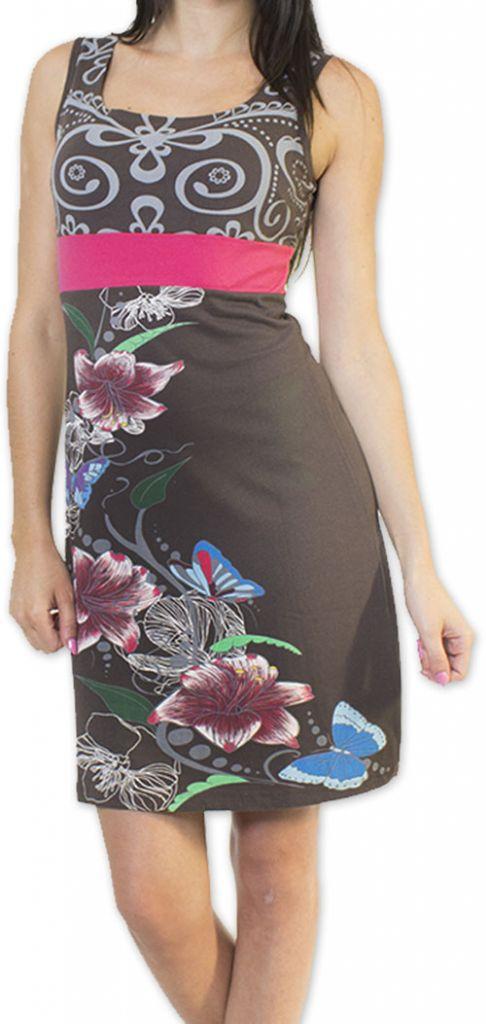 Légère et fluide robe courte et chic de soirée Grise Annela 273251