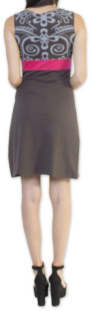 Légère et fluide robe courte et chic de soirée Grise Annela 273252