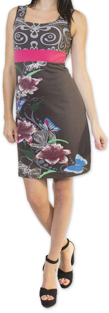 Légère et fluide robe courte et chic de soirée Grise Annela 273253