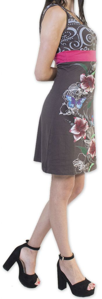 Légère et fluide robe courte et chic de soirée Grise Annela 273254
