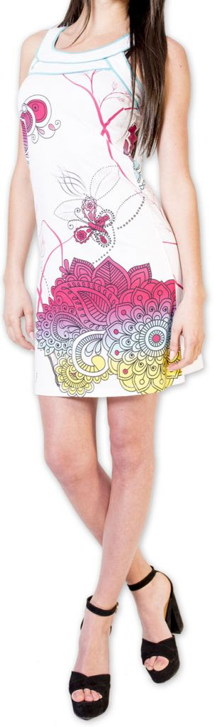 Magnifique robe courte chic et colorée Blanche Jess 273506