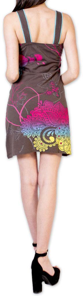 Magnifique robe courte chic et colorée Grise Jess 273500