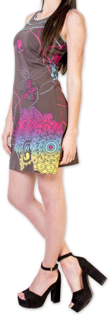 Magnifique robe courte chic et colorée Grise Jess 273501