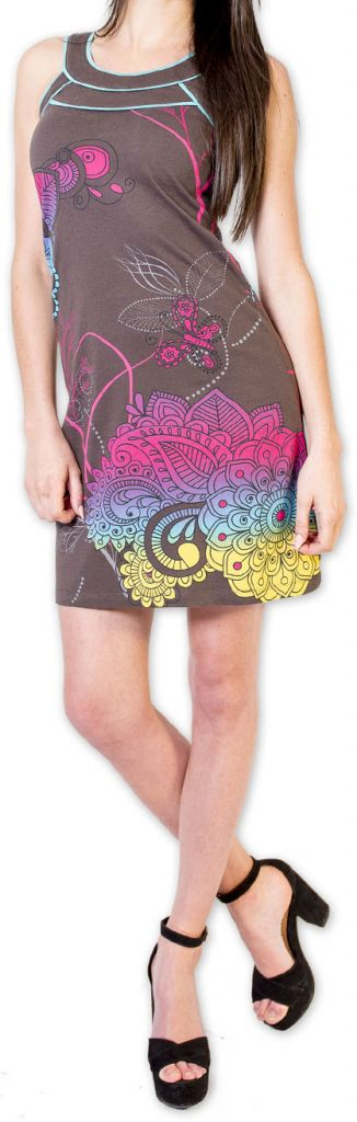 Magnifique robe courte chic et colorée Grise Jess 273502