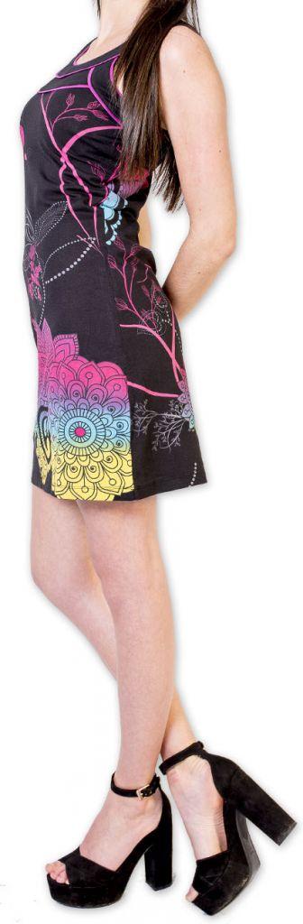 Magnifique robe courte chic et colorée Noire Jess 273497