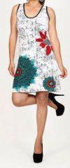 Magnifique robe courte ethnique et colorée - Blanche - Priscillia 272049