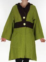 Manteau à capuche pour Femme en Laine et Original Rodolphe Anis 278048