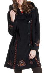 Manteau à capuche pour femme Ethnique en Polaire Corbin Noir 286883