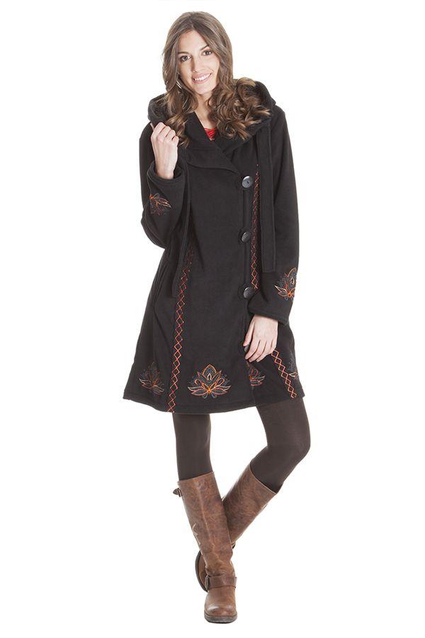 Manteau à capuche pour femme Ethnique en Polaire Corbin Noir 286884