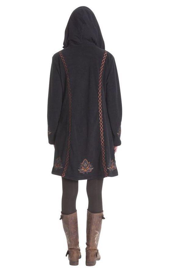 Manteau à capuche pour femme Ethnique en Polaire Corbin Noir 286885