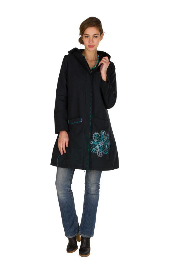 Manteau Bleu marine long en coton avec doublure polaire et broderie fantaisie Othella 300298
